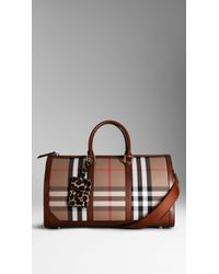 Burberry The Boston in House Check and Leather - Lyst