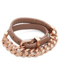 Marc By Marc Jacobs - Leather and Chain Double Wrap Bracelet - Lyst