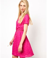 Olivia Rubin - Short Sleeve Dress with Elasticated Waist and Star Chain Belt - Lyst