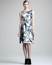 Oscar de la Renta Printed Silk Dress - Lyst