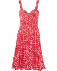 Oscar de la Renta Ruffled Ginghamprint Silk Dress - Lyst