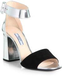 Prada Suede Metallic Leather Ankle Strap Sandals - Lyst