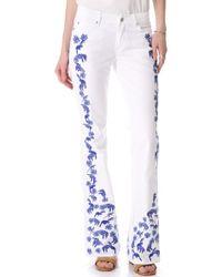 Rebecca Minkoff - Embroidered Slim Boot Cut Jeans - Lyst