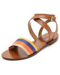 Studio Pollini - Striped Flat Sandals - Lyst