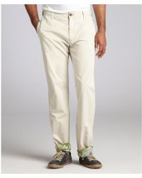 Tailor Vintage - Stone Cotton Chino Cuffed Trousers - Lyst