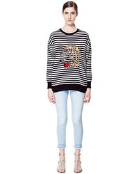 Zara Striped Sweater with Embroidered Tiger - Lyst