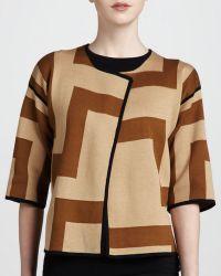 Adrienne Vittadini - Geometric Print Flyaway Cardigan Camel Suede - Lyst