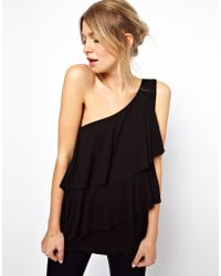 Asos Top with One Shoulder and Ruffle Detail - Lyst