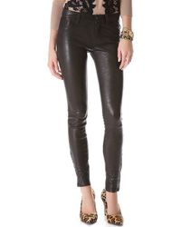 J Brand Super Skinny Leather Pants - Lyst