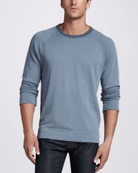 James Perse Long Sleeve Crew Neck Tee Vintage Blue - Lyst