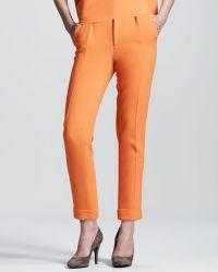 Roland Mouret Carillon Doubleface Crepe Trousers orange - Lyst