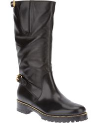 Sergio Rossi Buckle Detail Midcalf Boot - Lyst