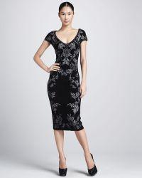 Zac Posen Womens Bonded Jacquard Sheath Dress black - Lyst