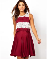 Asos Skater Dress with Lace Top - Lyst
