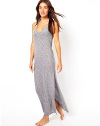 Asos Slubby Plunge Maxi Beach Dress - Lyst