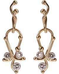 Dean Harris - Gold Small Paisley Earrings with Diamonds - Lyst