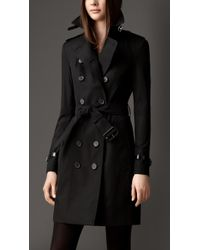 Burberry Long Slim Fit Leather Detail Trench Coat - Lyst