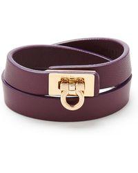 Ferragamo - Leather Gancini Double Wrap Bracelet - Lyst