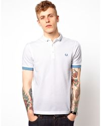 Fred Perry Polo with Small Collar and Contrast Cuff - Lyst