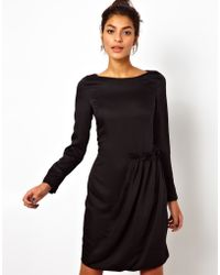 Love Moschino Long Sleeved Evening Dress with Side Ruffle - Lyst