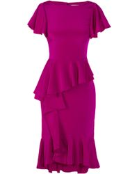 Marchesa Silk Crepe Dress with Cascading Ruffled Skirt - Lyst