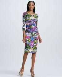Nicole Miller Threequarter Sleeve Floralprint Dress - Lyst
