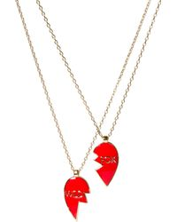 Wildfox - Broken Heart Double Friendship Necklace - Lyst
