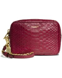 Coach Legacy Flight Wristlet in Python Embossed Leather - Lyst