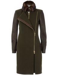 Etro Mink Collar Coat - Lyst
