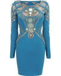 Matthew Williamson Maharajah Mirror Embroidered Mini Dress blue - Lyst