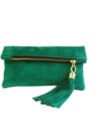 Miller And Jeeves Mini Suede Clutch - Emerald - Lyst
