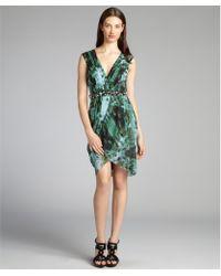 Vera Wang Lavender Peacock Printed Silk Chiffon Sleeveless Dress - Lyst