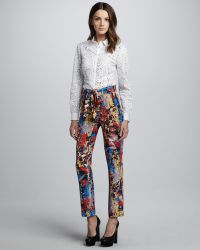 Catherine Malandrino - Printed Tiewaist Trousers - Lyst
