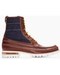 DSquared² - Brown Leather and Denim Hiking Boots - Lyst
