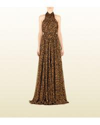 Gucci Jaguar Print Silk Gown - Lyst