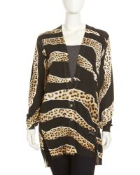 Just Cavalli Leopardtigerprint Vneck Cardigan Black Xl - Lyst