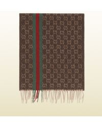 Gucci Gg Patterned Jacquard Cashmere Scarf With Web Detail - Lyst