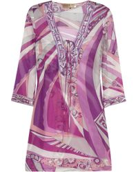 Emilio Pucci Chicago Printed Cotton and Silk-blend Kaftan - Lyst