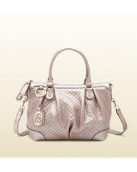 Gucci | Sukey Light Pink Metallic Microguccissima Top Handle Bag | Lyst