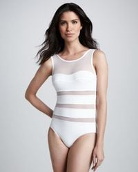 Karla Colletto Mesh-Panel One-Piece Swimsuit - Lyst