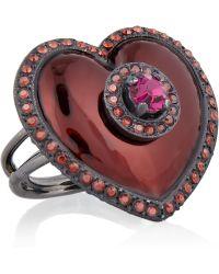 Lanvin Swarovski Crystal Brass and Enamel Heart Ring - Lyst