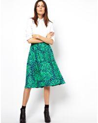 Asos Midi Skirt in Animal Print - Lyst