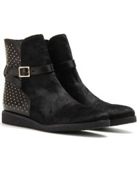Burberry Prorsum | Eskdale Leather Boots with Haircalf | Lyst