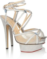 Charlotte Olympia Isadora Suede and Mesh Sandals - Lyst