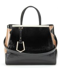 Fendi 2Jours Crinkled Patent Leather Tote - Lyst
