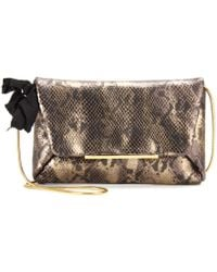 Lanvin Snakeembossed Leather Clutch - Lyst