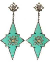 Bochic | Green Agate Star Drop Earrings | Lyst