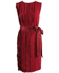 Oscar de la Renta Sleeveless Vertical Panel Dress - Lyst