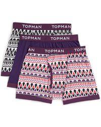 Topman Purple Aztec 3 Pack Underwear - Lyst