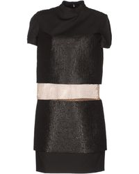 Paco Rabanne Short Sleeve Mandarin Collar Black Short Dress - Lyst